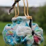 Felted Bag - Wool Hand Bags , Felted Wool Purse,Wet Felted Bags, Turquoise Bag.