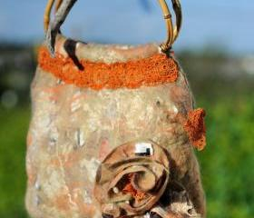 Felted Bag - Wool Hand Bags , Felted Wool Purse,Wet Felted Bags, Orange Bag.