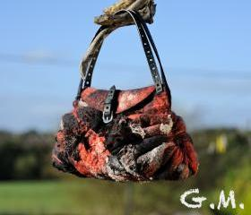 Felted Bag - Wool Hand Bags , Felted Wool Purse,Wet Felted Bags, Red&Black Bag.
